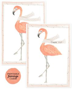 printable & downloadable flamingo thank-you cards #thankyougifts