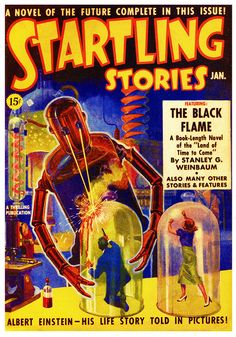 Startling Stories, January illustration by Howard V. This cover pic shows the trapped man and woman. Science Fiction Kunst, Science Fiction Magazines, Albert Einstein Pictures, Pulp Magazine, Magazine Covers, Magazine Art, Pulp Art, Retro Futurism, Sci Fi Art
