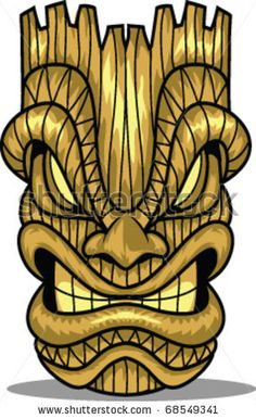 Vector Line Art Tiki Mask Stock Vector (Royalty Free) 69043798 Tiki Maske, Deco Surf, Tiki Art, Tiki Tiki, Tiki Faces, Tiki Tattoo, Tiki Head, Tiki Statues, Tiki Totem