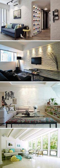 Wonder how a white brick wall would look like in the living room? 25 Living Rooms with White Brick Walls