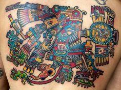 TEZCATLIPOCA. Veintena de los días en el calendario Azteca Tonalamatl tonalpohuali tatuaje echo por Osvaldo Castillo, tatuajes prehispánicos México D.F Tatuajes ofrenda de sangre. Tatuadores mexicas de la gran Aztlan. Tatuaje a color ceremonial.
