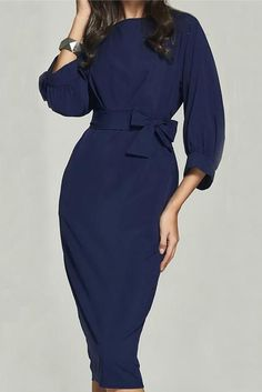 Blue Puff Sleeve Belt Knee-Length Chiffon Pencil Dress