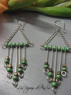 Boucles d'oreille fantaisie Balancelle vert et bronze