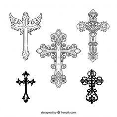 Odkryj tysiące wektorów bez praw autorskich na Freepik Mom Tattoo Designs, Cross Tattoo Designs, Cross Designs, Small Cross Tattoos, Cross Tattoos For Women, Celtic Cross Tattoos, Body Art Tattoos, New Tattoos, Familie Symbol