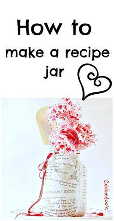 How to make a recipe jar. #recycled jar, #modpodge, #vintage recipe cookbook. #dollartree cupcake liner flowers