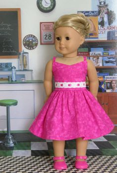 Pink Passion Dress for American Girl or 18 inch by cupcakecutiepie