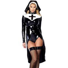 #BestPrice #Fashion halloween cosplay M, L, XL Fashion Black Women sexy nun costume Vinyl Leather Cosplay Halloween Costume W850640