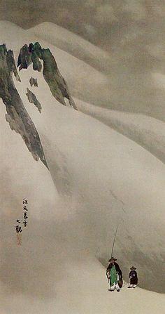 Yokoyama Taikan, The mountain, the snow and the 2 tiny   travelers, it overwhelms  me.