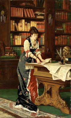 Jean Baptiste II Charpentier - Señora en la biblioteca.