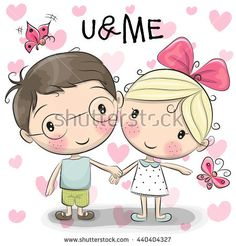 Cute Cartoon boy and girl are holding hands on a heart background