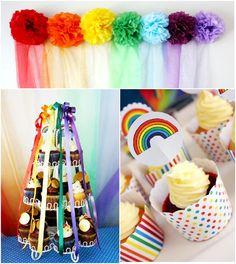 PARTY BLOG by BirdsParty|Printables|Parties|DIYCrafts|Recipes|Ideas: Rainbow Birthday Party Ideas: A Colorful Rainbow Party and DIY Desserts Table!!