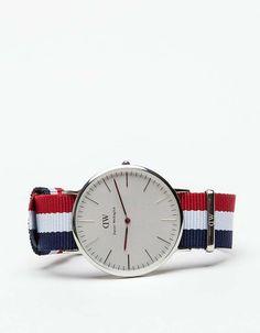 Daniel Wellington Classic Cambridge In Silver #mens #silver #watch #striped-strap #wantering