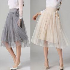 2016 новая весна лето женская юбки модно тонкий взрослых туту тюль юбка свободного покроя эластичный пояс миди юбка 4 цвет подъюбники купить на AliExpress