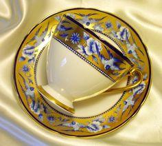 Shelley Ripon Tea Cup & Saucer ~ Cobalt Blue Swallows & Gold