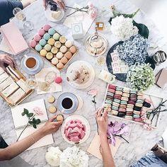 Springtime tea time #ladureeus #laduree #teatime #macaron