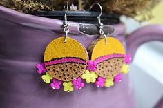 Martinuska / Svieže letné s kvietkami/cork earrings