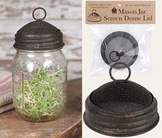 Mason Jar Screen Dome Lid - Textured Brown Finish