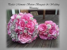 Pink Sapphire Crystal & Brooch Brides & flower girl Bouquets www.bestweddingshowcase.com