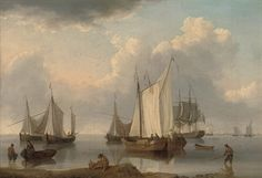 """William Anderson (1757-1837),   """"A British warship, Dutch barges and other coastal craft on the Ijselmeer in a calm"""""""