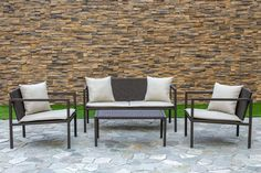 Living Express Stone Harbor Collection This 4 PC Modern Woven Set are Deep Seating and with Cushions