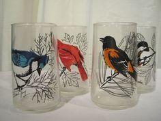 Mid Century Vintage Anchor Hocking Bird Glasses Tumblers Cardinal, Baltimore Oriole, Blue Jay, Chicadee by SharetheLoveVintage on Etsy