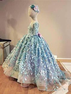 flower girl dress, aqua blue and lavender couture flower girl dress