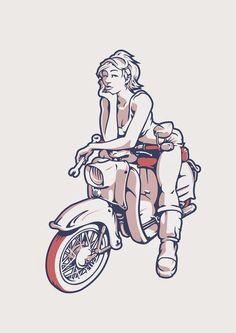 moped girls by stefan kowalczyk moped girls von stefan kowalczyk Triumph Motorcycles, Custom Motorcycles, Cars And Motorcycles, Motorcycle Logo, Motorcycle Quotes, Girl Motorcycle, Chicks On Bikes, Illustrator, Dirt Bike Girl