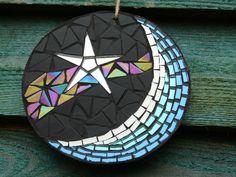Moon and Star glass mosaic Mosaic Wall Art, Mosaic Diy, Mosaic Crafts, Mosaic Glass, Mosaic Ideas, Moon, Stars, Garden Ideas, Sewing