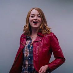 The latest outfit of Emma Stone LA LA Land Red Jacket. Order Emma Stone Red Jacket right away and facsimile the style! Emma Stone, Daily Fashion, Retro Fashion, Latest Outfits, Jacket Style, Leather Fashion, Jackets For Women, Women's Jackets, Leather Jacket