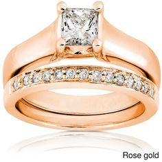 Annello by Kobelli 14k Gold 3/4ct TDW Diamond Solitaire Ring Bridal Ring Set (G-H, I1) (Rose - Size 9), Women's, Pink