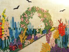 PRETTY VINTAGE EMBROIDERY PICTURE OF A COTTAGE GARDEN  C.1930 S