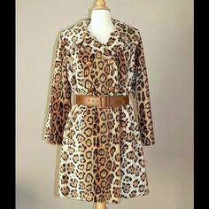 Leopard print Glam trench coat sz ~ 8/10 Leopard print Glam trench coat sz ~ 8/10 in pristine condition with black satin lining ❤️ Jackets & Coats Trench Coats