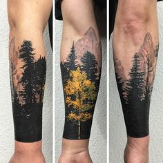 This #forearmtattoo has a yellow #aspentree in the foreground, with the #fitzroy mountains in #patagonia South America as the background.  #tattoo #tattoos #aspentreetattoo #ink #inked #treetattoo #surrealtattoostudio #crazyytattoos #inkjunkeyz #tattooistartmag
