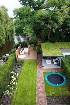 LANDSCAPE STEEL PLATFORM GARDEN BACKYARD HOUSE TREES #gardeningbackyard