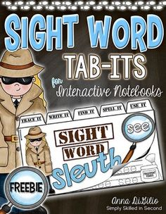 """FREE!! would use with SECRET STORIES® Outlaw Words rather than decodable sight words, but looks really cute!!....Get your Super Sleuth Detectives ready to MASTER the sight word """"THE"""" with this Tab-It book that fits perfectly into your Interactive Notebooks.  Each Sight Word Sleuth Tab-It Booklet will have the students reading, writing, and making the specific sight word you are learning about."""