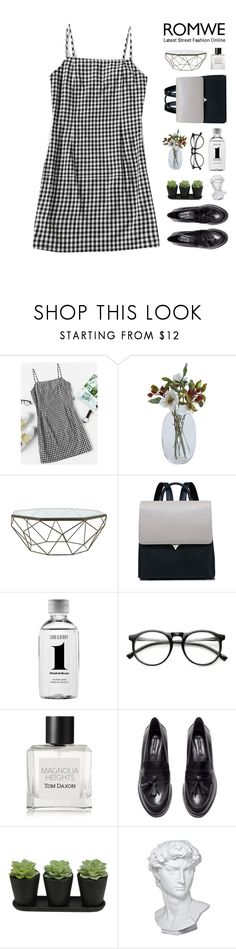"""""""Gingham Dress with Romwe"""" by hiddlescat ❤ liked on Polyvore featuring Jayson Home, Lord & Berry, ZeroUV, Tom Daxon, H&M, Eichholtz, vintage, romwe, loafers and 60s"""