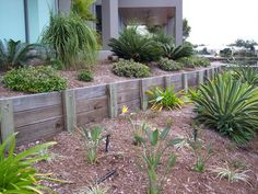 I like the less formal look of the timber - Modern Small Retaining Wall, Backyard Retaining Walls, Building A Retaining Wall, Small Garden Fence, Sloped Garden, Lawn Edging, Garden Edging, Terraced Landscaping, Backyard Landscaping