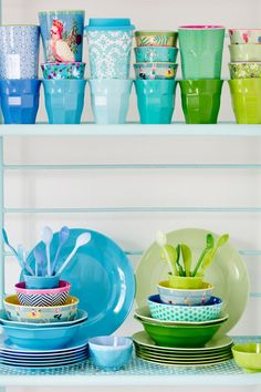 RICE DK melamine cups, bowls, plates and spoons in gorgeous blues and greens at www.pinksandgreen.co.uk