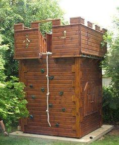 Castle With Climbing Wall - Project code: PC070622 #diyplayhouse #childrensindoorplayhouse #backyardplayhouse #diyindoorplayhouse