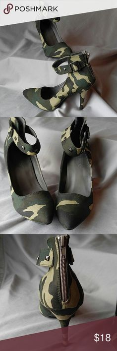 NWOT Camo Heels with studded accents Wear with khaki, black or brown. These camo heels are sure to impress. Never worn but know I want to. Would look stunning with so much. leuven Shoes Heels