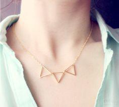 triad - gold triangle necklace - geometric jewelry. $13.90, via Etsy.