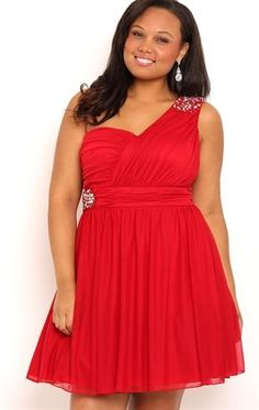 Deb Shops Plus Size Short One Shoulder Homecoming Dress with Illusion Back $80.00
