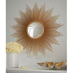 """Thin Sunray"" Mirror by Global Views at Horchow. Round, sunburst mirror in Gold Sun Mirror, Mirror Floor, Plafond Design, Starburst Mirror, Boho Home, Handmade Home, Home Furnishings, Home Accessories, Diy Home Decor"
