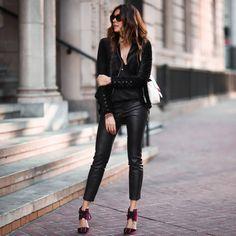 black velvet jacket, leather pants, red velvet heels