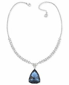 Swarovski Necklace, Rhodium-Plated Triangle Denim Blue Crystal Pendant and Collar Necklace