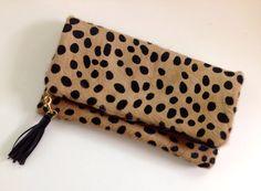 Leopard Print Fold Over Clutch Cheetah Calf Hair by 2chicdesigns, $130.00