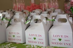 bridal shower - love is the best medicine candy bar favor boxes