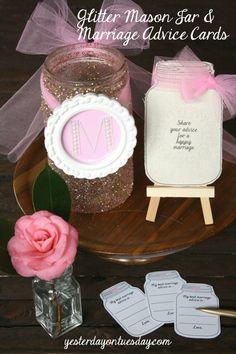 DIY Glitter Mason Jar and Marriage Advice Printable Cards Wedding Gift Idea