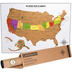 Celebrating 100 years of the US National Parks   Landmass's USA with national parks Travel Tracker Map™ will get you out on the road ready to explore! The top layer is made of gold foil, much like a