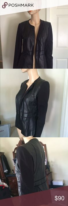 Genuine Leather Jacket Leather with Stretchy Fabric Classiques Entries Jackets & Coats